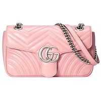 GUCCI Bag Macaron marmont wave G buckle Heart Shoulder Bag Crossbody Bag Pink