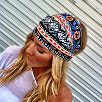 Colorful Aztec Boho Headband Cotton Wide Turban Head Scarf