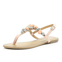 River Island Womens Light pink gemstone T-bar sandals