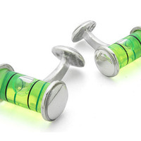 LEVEL CUFFLINKS   Silver Level Cufflinks - Carpenter's Tools Turned Trendy Accessories for Your Handyman   UncommonGoods