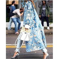 New fashion fold-over collar single-breasted button printing long-sleeved ladies coat