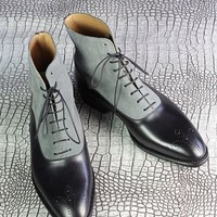 Handmade Men's Two Tone Chelsea Boots, Men Black And Gray Leather Boots
