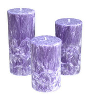 Feathered Pillar Candle Set Purple Moonlight Path