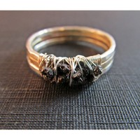 Raw Uncut Rough Diamond Cluster Ring - Black Diamonds