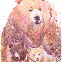 Bear with cub, wildlife,  watercolor,  wall decor,  animal art, art print, nursery decor, mothers day gift, children art, Illustration