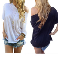 Sexy Women Casual Solid Off Shoulder Loose T-shirts Off-Shoulder Tops