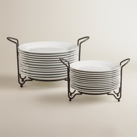 Porcelain Plates Sets with Space-Saving Racks - World Market