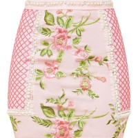 Premium Blush Embroidered Lace Mini Skirt