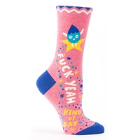Fuck Yeah Kind Of Day Women's Crew Socks Hipster/Nerdy/Geeky/Trendy, Pink Funny Novelty Socks with Cool Design, Bold/Crazy/Unique/Quirky Dress Socks
