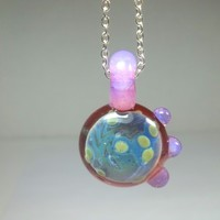 Space with Pink Slyme Glass Pendant by Princess Tunacorn