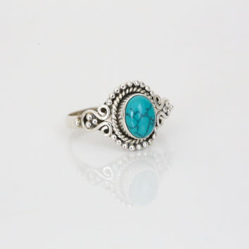 925 Sterling Silver with Turquoise Stone Ring