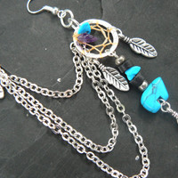 ONE turquoise zuni bear dreamcatcher chained ear cuff turquoise and amethyst cuff in boho gypsy hippie hipsternative american tribal style