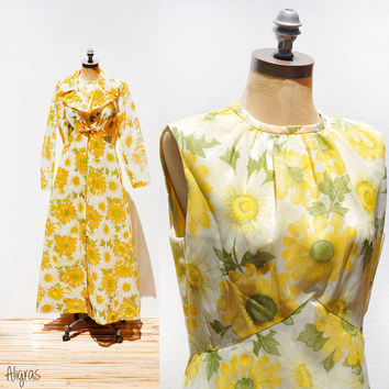 1950s Floral Dress and Overcoat • Vintage Yellow Daisy Dress Set • Matching • 2 piece • Garden Party 1950s • Maxi