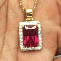 RUBY SQUARE GEMSTONE NECKLACE