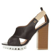 Black Qupid Lug Sole Crisscross Sandals by Qupid at Charlotte Russe