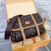 Louis Vuitton vintage print postman bag with large capacity wide shoulder strap single-shoulder cross-body bag