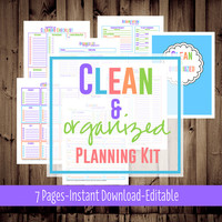 Clean & Organized Planner-Printable Cleaning Checklist-House Cleaning Schedule-7 Sheets-Bright-INSTANT DOWNLOAD - Editable