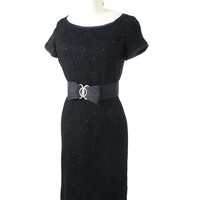 60's Rhinestone Accent Black Lace Cocktail Dress