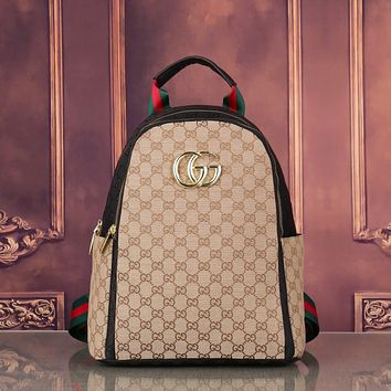 GUCCI GG Canvas Men's and Women's Double G Backpack Shoulder Bag