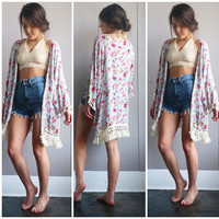 A Blue and Roses Floral Kimono