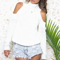Ndulge Cold Shoulder Sweater (other colors available)
