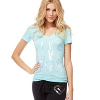 SEQUINED SIGNATURE V-NECK TEE