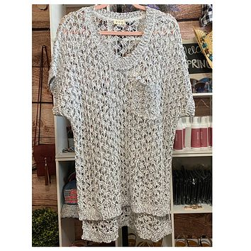 Adorable Me! Grey Crochet Knit Cover Up Top