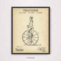 Bicycle Art, Velocipede Patent Printable, Vintage Bike Poster, Digital Download, Old Bicycle Wall Art, Retro Rower, Penny Farthing Print