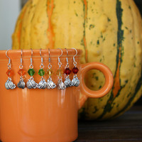 Choice of Silvertone Pumpkin Earrings with Faceted Accent Bead Autumn Dangles Handmade Fall Earwires