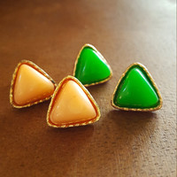 Dainty earrings Antique gold plated small triangle shape stud earrings Statement earrings Candy color small rusty gold earrings