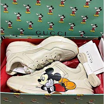 GUCCI x Disney Women Cute Mickey Mouse Print Leather Running Sport Sneakers Shoes