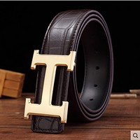 HERMES Women Men Fashion Smooth Buckle Belt Leather Belt