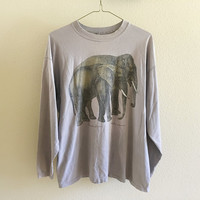 Purple Elephant Long Sleeve Tee Oversized 90s Vintage XL