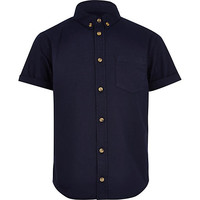River Island Boys navy oxford shirt