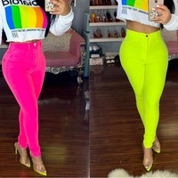 Women Casual Neon Yellow/Pink Skinny Pencil Pants