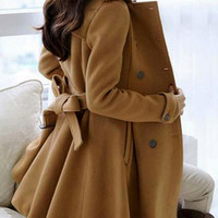 Double-Breasted Camel Coat