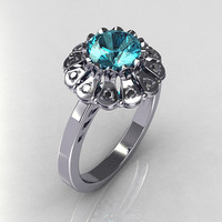 Modern Vintage 14K White Gold 1.0 CT Round Aquamarine 0.24 CTW Diamond Flower Ring JK17-14WGDAQ