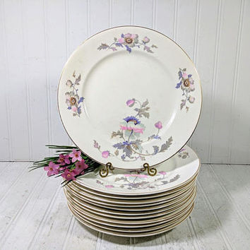 Dinner Plates Set of 12 National Ivory China Dinnerware Pink & Purple Poppies Pattern Shabby Chic 9 1/2 Inch Dinner Plates Collection of 12
