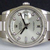 Rolex Day Date President White Gold Silver Diamond Dial 118239 - WATCH CHEST