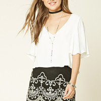 Embroidered Faux Suede Skirt