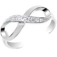 925 Sterling Silver CZ Infinity Toe Ring   Body Candy Body Jewelry