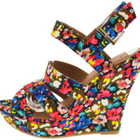 CHARLEEN09 COBALT BLUE STRAPPY FLORAL WEDGE