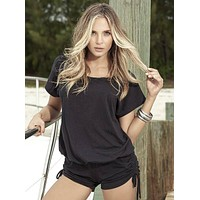 Black Side Drawstrings Loose Fit Romper (Available in Blue or White)