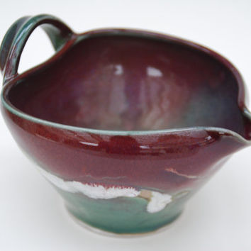 Pottery Batter Bowl - Ceramic and Pottery Batter Bowl - Medium Mixing bowl with handle and spout, by Elena Madureri