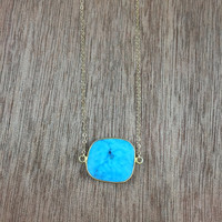 14k gold filled necklace with a 24k gold vermeil turquoise bezel connector / bridesmaid / dainty / minimalist / December birthstone