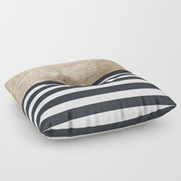 Navy stripe + wood Floor Pillow by Urban Exclaim Co.