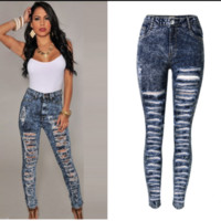 Women's Sexy Blue Acid Wash Distressed Rip Style Torn Holes Jeans