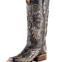 Corral Women's A1986 Wing And Cross Black Fashion Boots 10 M