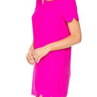 Scalloped Hem Shift Dress. - Hot Pink