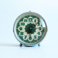 Vintage mint alarm desk clock by Sevani